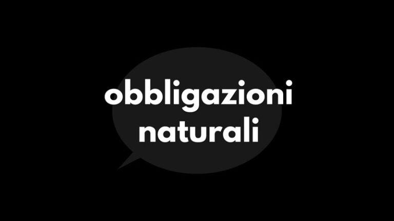 le obbligazioni naturali